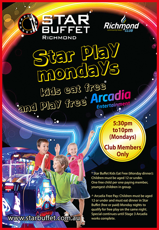 KIDS EAT FREE & PLAY FREE MONDAY NIGHT - STAR BUFFET RICHMOND