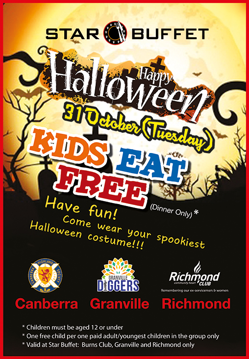 KIDS EAT FREE HALLOWEEN NIGHT - STAR BUFFET CANBERRA/GRANVILLE/RICHMOND