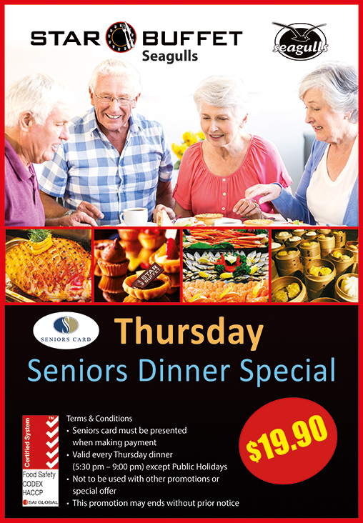 THURS SENIORS DINNER SPECIAL AT STAR BUFFET TWEED HEADS