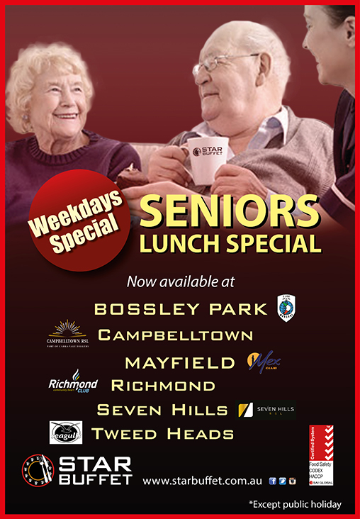 SENIORS LUNCH SPECIAL AT PARTICIPATING STAR BUFFET